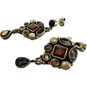 Sterling Silver Gemstone Earrings Featuring Garnet, Cultured Pearl, Amethysts and Topaz