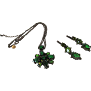 Vintage Joan Rivers Signed Necklace and Earrings Matching Set in Rich Green Crystals