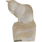 Lalique Cat on a Pedestal