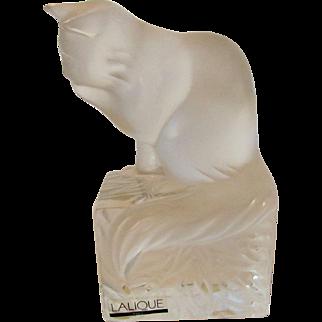 Lalique Cat on a Pedestal