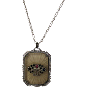 """Vintage Camphor Glass Pendant on 15"""" Sterling Chain"""