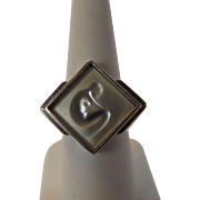 Lalique Ring with Frosted Nude Design in Sterling Silver