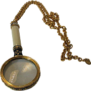 Vintage Signed Enamelled Magnifier on  Goldtone Chain by Joan Rivers 1994