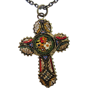 Vintage Micro Mosaic Cross On Brass Chain
