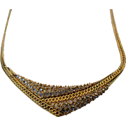 Vintage Krementz Mid Century Goldtone Necklace With Clear Crystal Centerpiece