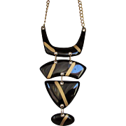 Vintage Chico Statement Necklace in Goldtone With Bold Lucite Black and Gold Shapes