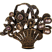 Sterling Silver Marcasite Flower Basket Pin With Six Light Amethysts