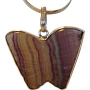 Sterling Silver Carved Gem Fluorite Butterfly Banded in Sterling on a Sterling Snake Chain