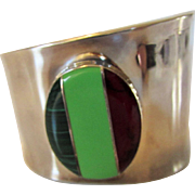 Sterling Silver Modernist Cuff Inlaid With Malachite and Agate Centerpiece