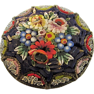 Vintage Micro Mosaic Floral Pin Stamped Made in Italy