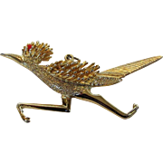 Vintage Giant Roadrunner Goldtone Pin Pendant
