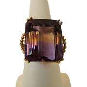 10 Karat Yellow Gold Ametrine Ring set in Gold Basket