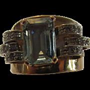 14 Karat Yellow Gold Retro Aquamarine Diamond Band Ring