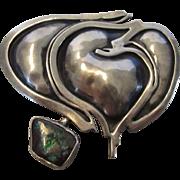 Sterling Silver Designer Modernist Pin or Pendant with Boulder Opal