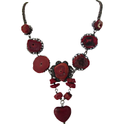 Vintage Silver Tone Necklace With Raw Red Coral Accents