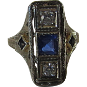 18 Karat White Gold Deco Diamond Ring With Lap Created Sapphire Accents from the 20's