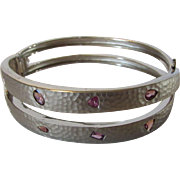 Sterling Silver Bangle With Pink Sapphires