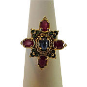 10 Karat Yellow Gold Ruby and Emerald Surrounding a Sapphire Cabochon