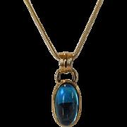 Vintage Signed Monet Goldtone Chain with Faux Aqua Blue Pendant