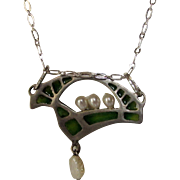 Sterling Silver Nouveau Plique-A-Jour Pendant on a Sterling Chain and Freshwater Pearl Enhancements