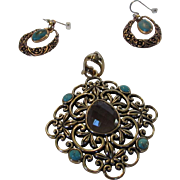 Vintage Signed Goldtone Enhancer and Matching Pierced Earrings by Barse Decorated with Faux Turquoise and Faux Amethyst