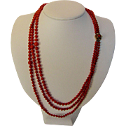 14 Karat Yellow Gold Clasp on Red Coral Bead Triple Strand Necklace
