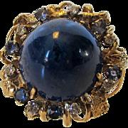 14 Karat Yellow Gold Massive  Lapis Lazuli Surrounded With Diamonds and Tanzanites