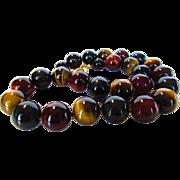 O.O.A.K. Tiger's Eye Gemstones Necklace With Designer Gold Wash Sterling Clasp