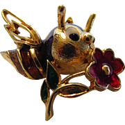 Vintage Signed Jomaz Goldtone Bee With Enamelled Body and Flower