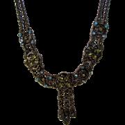 Vintage Victorian Revival Choker With Aqua Blue Crystal Adornments