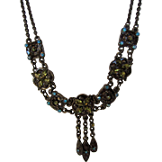 Vintage Victorian Revival Choker With Aqua Blue Crystal Adornments