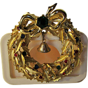 Vintage Christmas Wreath Pin With Multi Crystal Accents and Bell