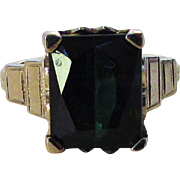 14 Karat White Gold Deco Ring With Square Dark Green Tourmaline