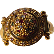 14 Karat Yellow Gold Dome Ring Sprinkled With Diamonds, Ruby and Sapphire