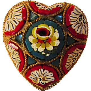Vintage Micro Mosaic in Heart Shape Signed Italy