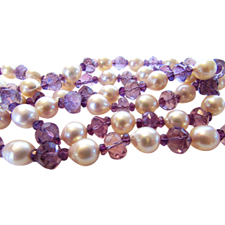 O.O.A.K. Amethyst and Cultured Pearl Necklace With Sterling Leaf Clasp