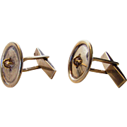 Tiffany Sterling Silver and 14 Karat Yellow Gold Cuff Links
