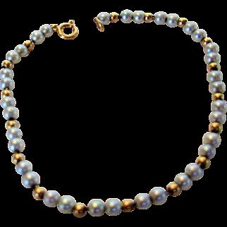 Petite Cultured Pearl and 14 Karat Bracelet