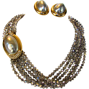 Ciner Signed Necklace and Matching Earrings Set With Grey Aurora Borealis Crystals and Grey Faux Mabe Pearls