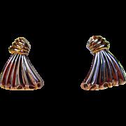 Sterling Silver Clip On Earrings Fan Shape