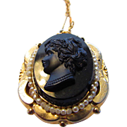 Vintage Locket With Faux Onyx Cameo of Young Girl Surrounded by Seed Pearls