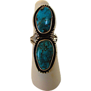 """Sterling Silver Turquoise Ring 2"""" Long"""