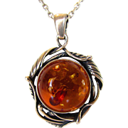 Sterling Silver Amber With Insect Pendant on Sterling Silver Chain