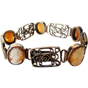 Vintage 800 Silver Cameo Bracelet