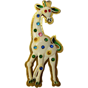 Vintage Giraffe Pin Enamelled With Multi Crystal and Brass Backing