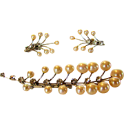 Vintage Vendome Pin and Matching Clip Earring Set With Faux Pearls and Clear Crystals