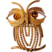 Vintage Gold Filled Amber Eyed Owl Pin