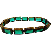 Vintage Deco Green Crystal and Brass Segment Bracelet