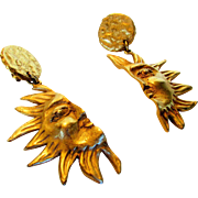 Vintage Donna Karen New York Goldtone Sun Statement Clip Earrings