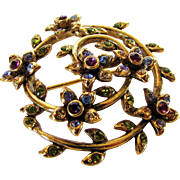 Vintage Monet Mid Century Floral Themed Goldtone and Colorful Crystals  Pin
